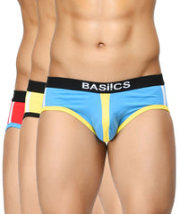 BASIICS Men Retro Style Cotton Spandex Briefs Pack of 3