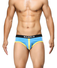 BASIICS Blue Men Retro Style Cotton Spandex Briefs
