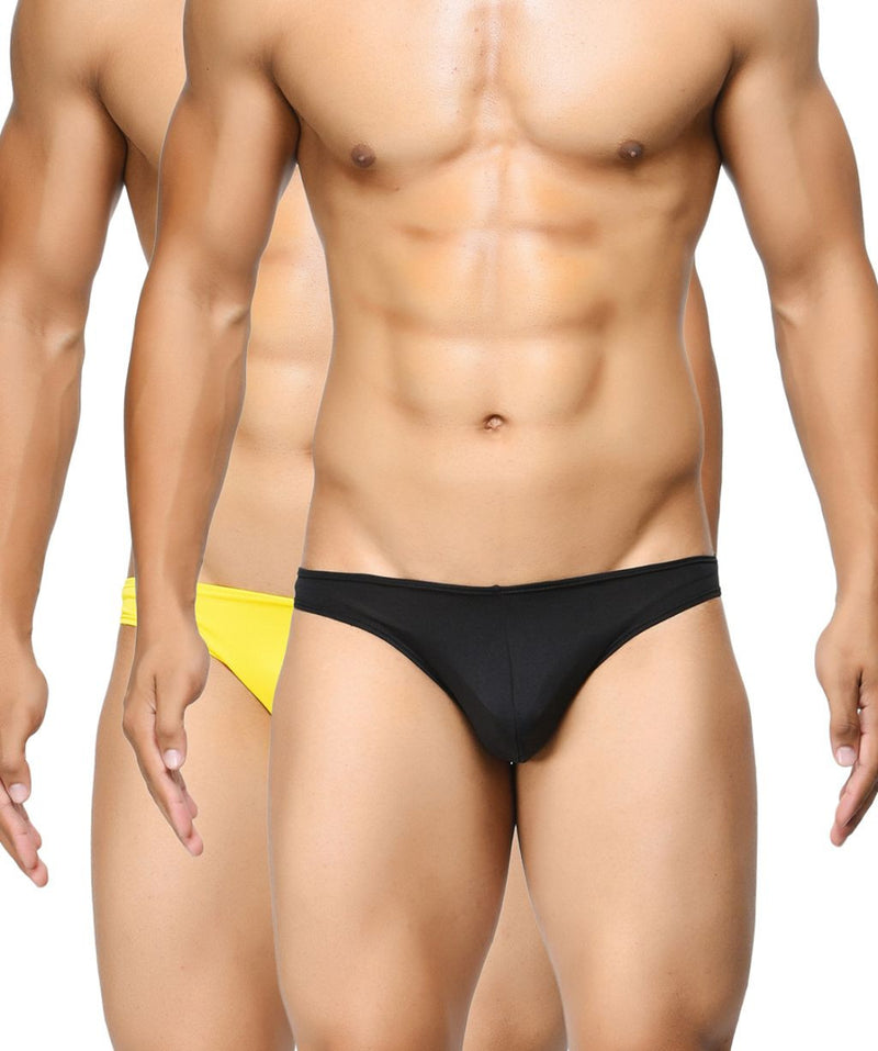 BASIICS Men Semi Seamless Feather Weight Cotton Spandex Briefs Pack of 2