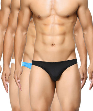 BASIICS Men Semi Seamless Feather Weight Cotton Spandex Briefs Pack of 3