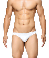 BASIICS White Men Semi Seamless Feather Weight Polyester Spandex Briefs