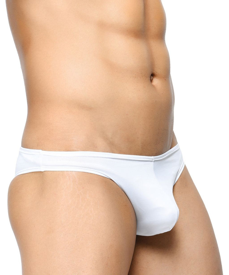 BASIICS White Men Elasticless Brief Polyester Spandex Briefs