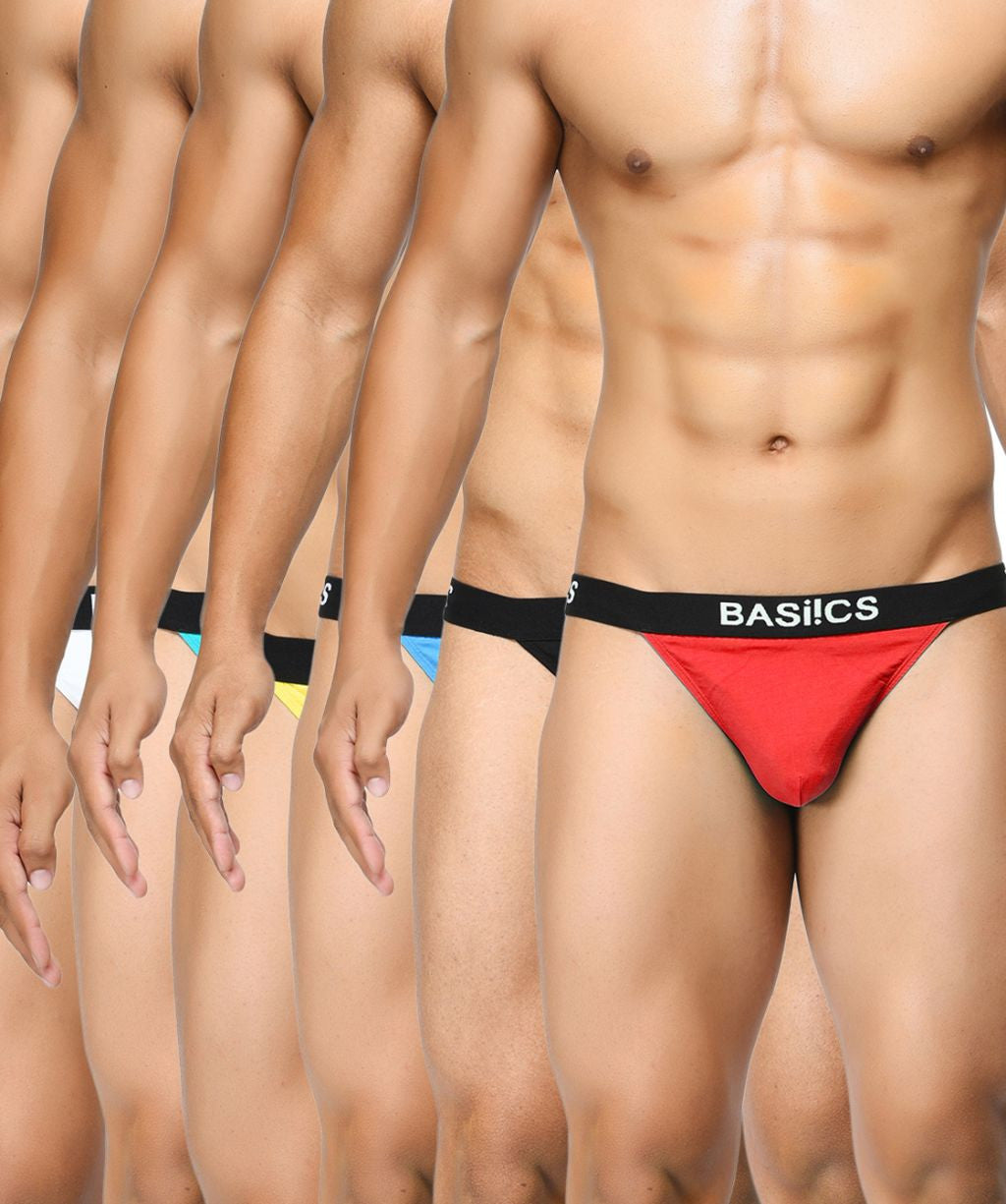 BASIICS Men Prime Cotton Spandex Thongs Multipack