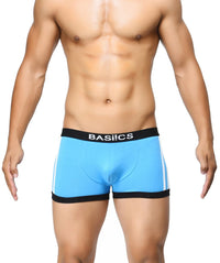 BASIICS Blue Men Body Boost Striped Cotton Spandex Trunks