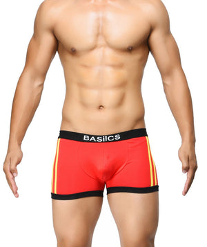BASIICS Red Men Body Boost Striped Cotton Spandex Trunks