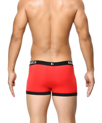 BASIICS Red Men Contoured Pouch Regular Cotton Spandex Trunks