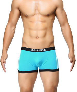 BASIICS Teal Men Body Boost Striped Cotton Spandex Trunks