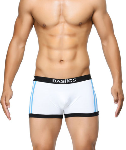 BASIICS White Men Body Boost Striped Cotton Spandex Trunks