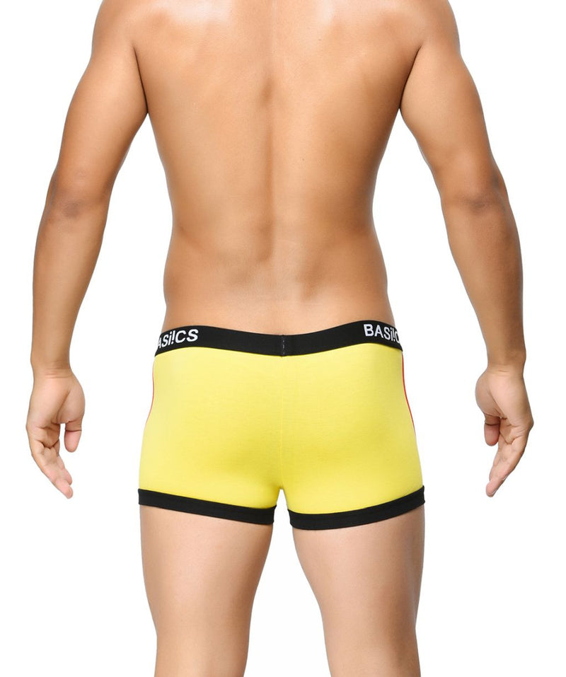 BASIICS Yellow Men Contoured Pouch Regular Cotton Spandex Trunks