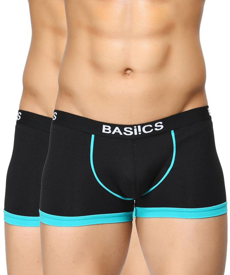 BASIICS Men Bold Micro Sport Cotton Spandex Trunks Pack of 2