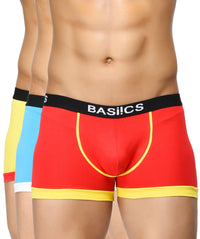 BASIICS Men Bold Micro Sport Cotton Spandex Trunks Pack of 3