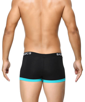 BASIICS Black Men Contoured Pouch Regular Cotton Spandex Trunks