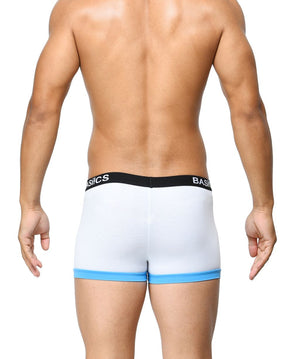 BASIICS White Men Contoured Pouch Regular Cotton Spandex Trunks