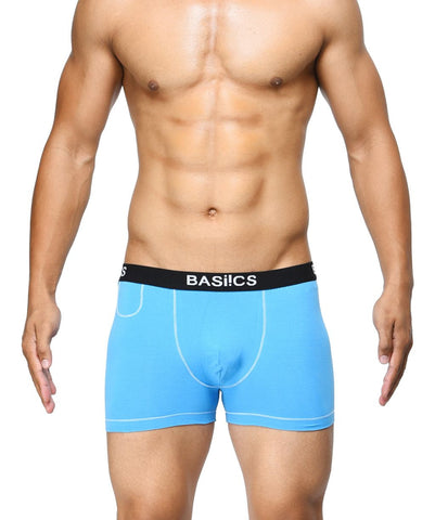 BASIICS Blue Men MicroFlex Cotton Spandex Trunks