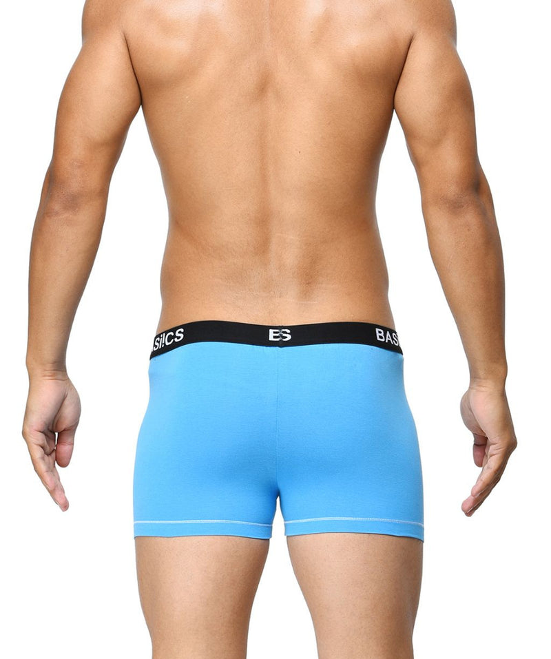 BASIICS Blue Men Contoured Pouch Regular Cotton Spandex Trunks