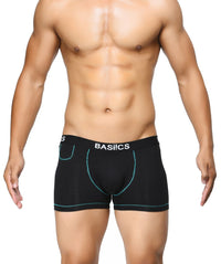 BASIICS Black Men MicroFlex Cotton Spandex Trunks