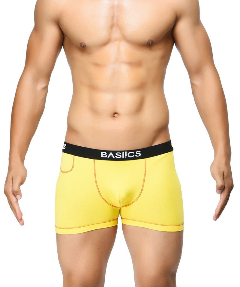 BASIICS Yellow Men MicroFlex Cotton Spandex Trunks