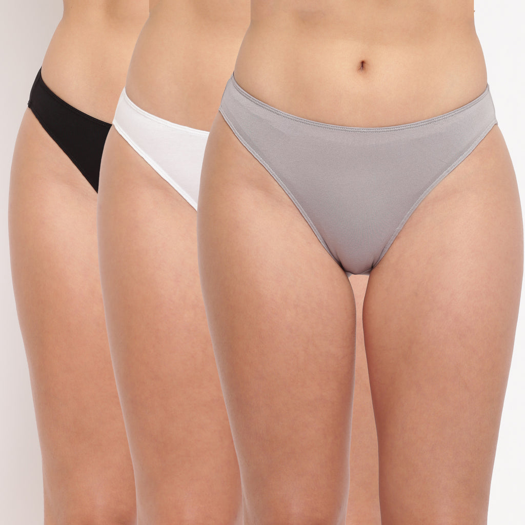 Glamo Rise High Leg Brief (Combo Pack of 3)