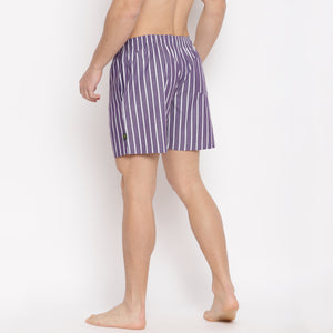 Classy Boxers (Purple with White stripes)