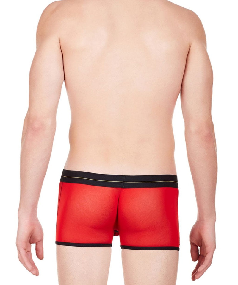La Intimo Red Men Undergarment Power Net Nylon Spandex Trunk