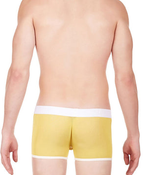 La Intimo Yellow Men Undergarment Power Net Nylon Spandex Trunk