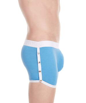 La Intimo Blue Men Greek Snap Button Cotton Spandex Trunk