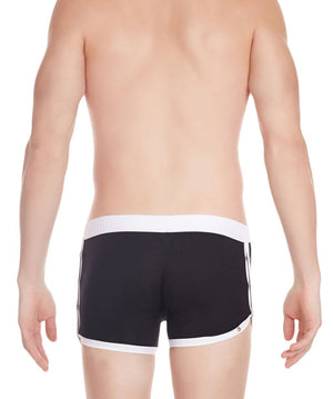 La Intimo Black Men Greek Side Open Cotton Spandex Trunk