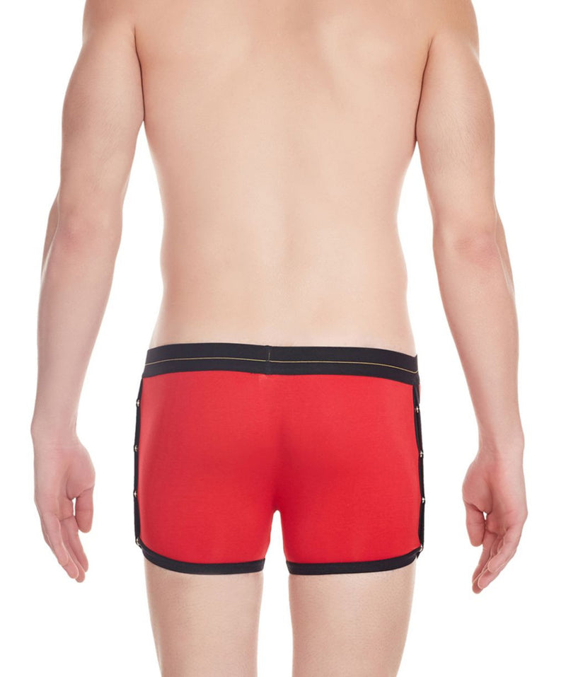 La Intimo Red Men Greek Side Open Cotton Spandex Trunk