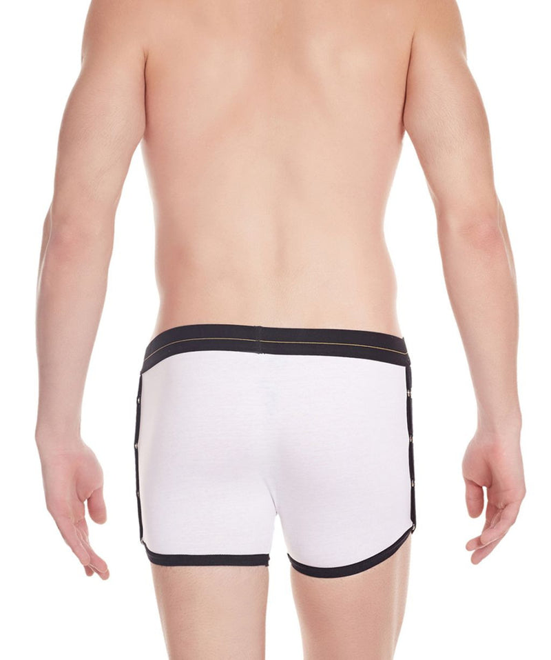 La Intimo White Men Greek Side Open Cotton Spandex Trunk