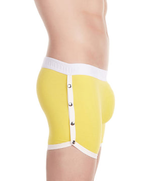 La Intimo Yellow Men Greek Snap Button Cotton Spandex Trunk