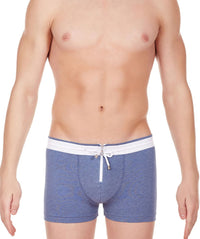 La Intimo Blue Men Zipper Drawstring Cotton Spandex Trunk