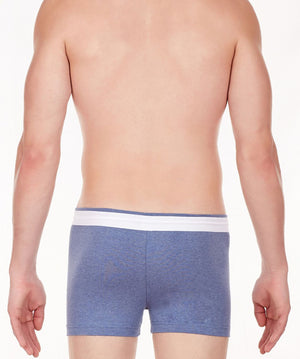 La Intimo Blue Men Zip Cotton Milange Spandex Trunk