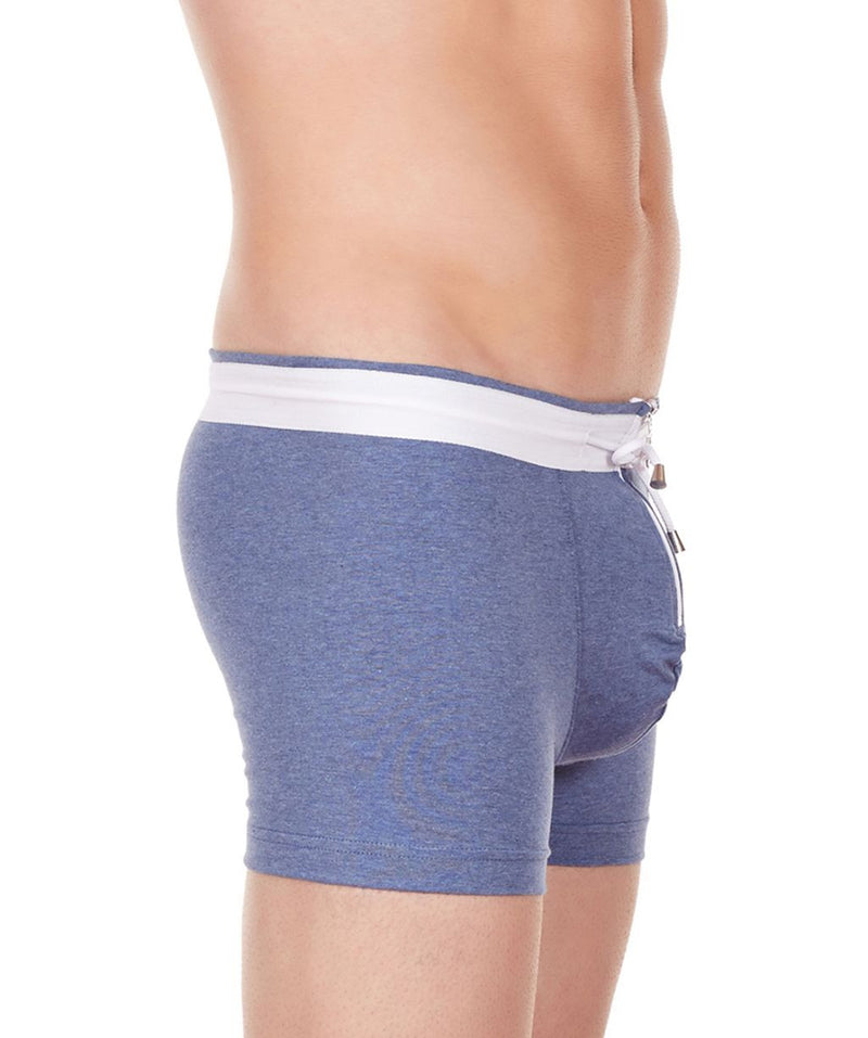 La Intimo Blue Men YKK Zip Cotton Spandex Trunk