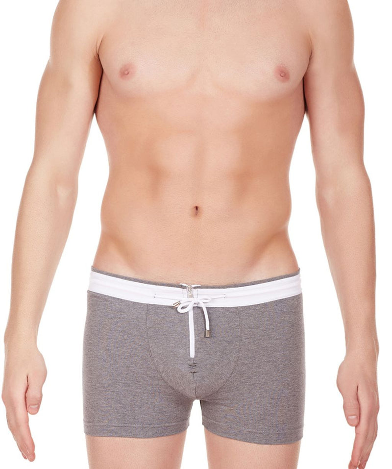 La Intimo Grey Men Zipper Drawstring Cotton Spandex Trunk