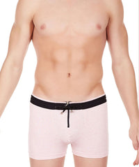 La Intimo Pink Men Zipper Drawstring Cotton Spandex Trunk
