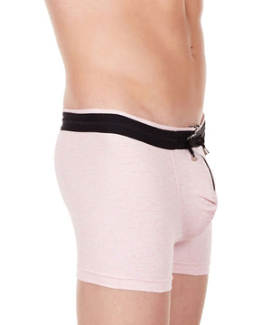 La Intimo Pink Men YKK Zip Cotton Spandex Trunk