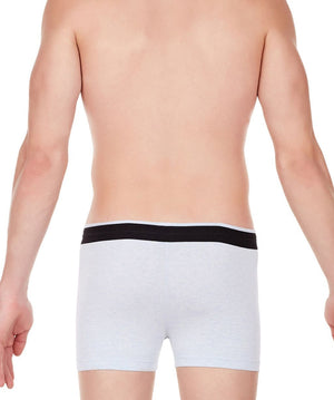 La Intimo Sky Blue Men Zip Cotton Milange Spandex Trunk
