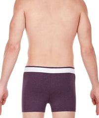 La Intimo Wine Men Zip Cotton Milange Spandex Trunk