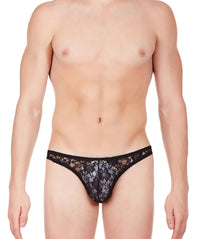 La Intimo Black Men Comfy Brief Nylon Spandex Lace