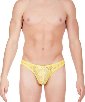 La Intimo Yellow Men Comfy Brief Nylon Spandex Lace