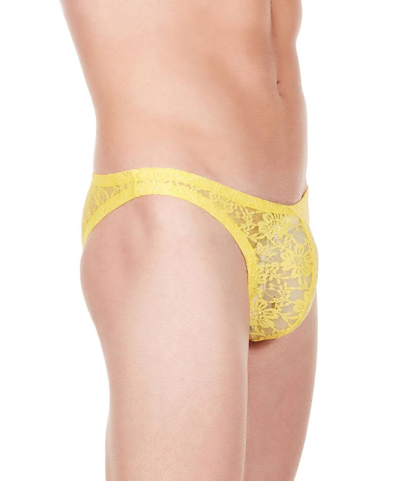 La Intimo Yellow Men Flower pattern Nylon Spandex Lace