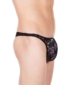 La Intimo Black Men Flower pattern Nylon Spandex Lace Thong