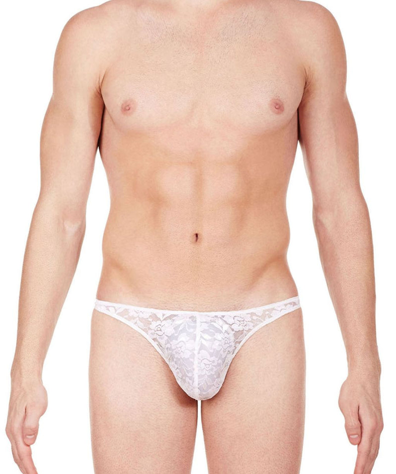 La Intimo White Men Comfy Thong Nylon Spandex Lace