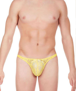La Intimo Yellow Men Comfy Thong Nylon Spandex Lace