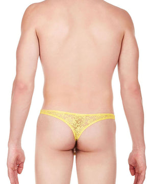 La Intimo Yellow Men Intimate Thong Nylon Spandex Lace