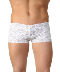 La Intimo White Men Trunk Nylon Spandex Lace