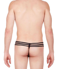 La Intimo Black Men Intimate GString Nylon Spandex Lace