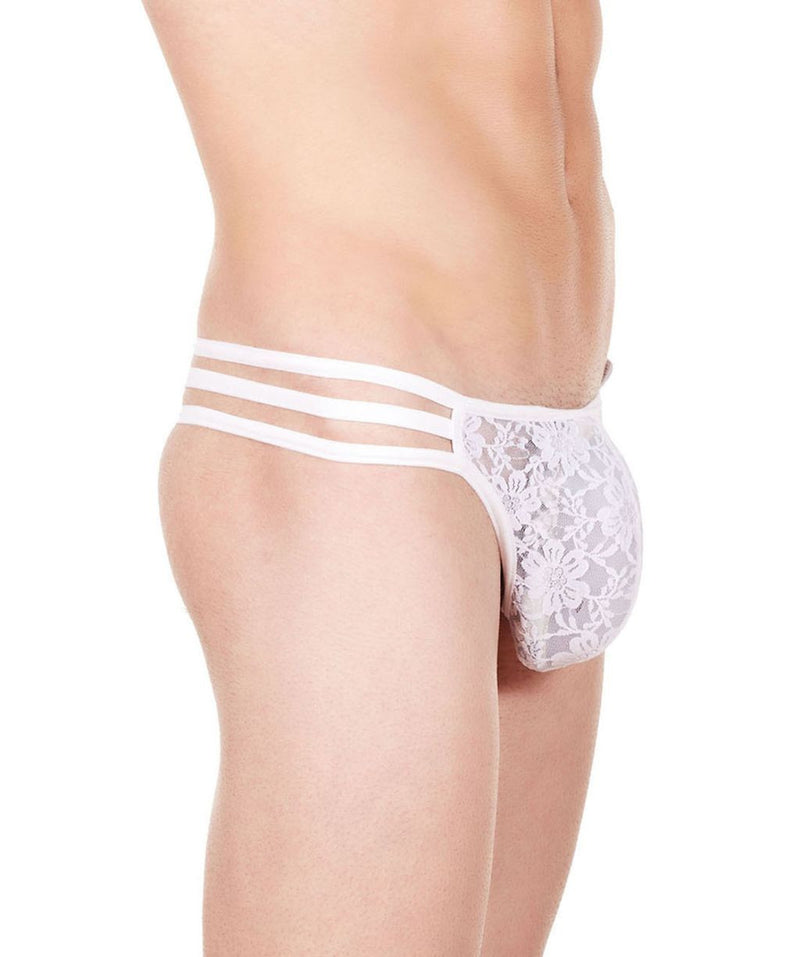 La Intimo White Men Flower pattern Nylon Spandex Lace GString
