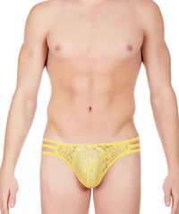 La Intimo Yellow Men Triple Lace GString Nylon Spandex Lace