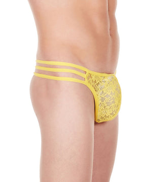 La Intimo Yellow Men Flower pattern Nylon Spandex Lace GString